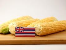Hawaii flagga på en träpanel med havre som tillbaka isoleras på en vit Royaltyfri Foto