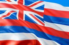 Hawaii-Flagge 3D, das USA-Staatsflaggenentwurf wellenartig bewegt Das nationale US-Symbol von Hawaii-Staat, Wiedergabe 3D Nationa stockbild
