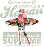 Hawaii floral que practica surf Fotografía de archivo