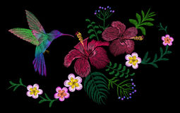 Hawaii flower embroidery arrangement patch. Fashion print decoration plumeria hibiscus palm leaves. Tropical exotic blooming bird. Hummingbird  illustration art Stock Image