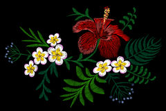 Hawaii flower embroidery arrangement patch. Fashion print decoration plumeria hibiscus palm leaves. Tropical exotic blooming bouqu. Et  illustration art Stock Photography