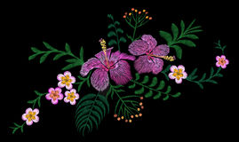 Hawaii flower embroidery arrangement patch. Fashion print decoration plumeria hibiscus palm leaves. Tropical exotic blooming bouqu. Et  illustration art Royalty Free Stock Images