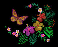 Hawaii flower embroidery arrangement patch. Fashion print decoration plumeria hibiscus palm leaves. Tropical exotic blooming bouqu. Et butterfly  illustration Royalty Free Stock Images