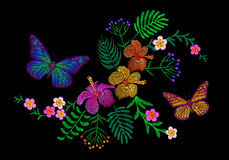 Hawaii flower embroidery arrangement patch. Fashion print decoration plumeria hibiscus palm leaves. Tropical exotic. Blooming bouquet butterfly vector Royalty Free Stock Images