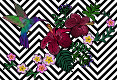 Hawaii flower embroidery black white seamless stripe background. Fashion print decoration plumeria hibiscus palm leaves. Tropical. Exotic blooming bird Stock Images