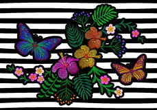 Hawaii flower embroidery trend geometric black white stripe. Fashion print decoration plumeria hibiscus palm leaves. Tropical exot. Ic blooming bouquet butterfly Royalty Free Stock Images