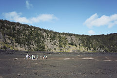hawaii fotvandra nationalparkvulkan Arkivbild