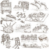 Hawaii - Full sized hand drawn illustrations on white Stock Image