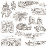 Hawaii - Full sized hand drawn illustrations on white Royalty Free Stock Image