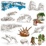 Hawaii - Full sized hand drawn illustrations on white Royalty Free Stock Photo