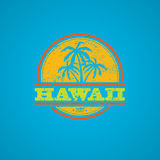 Hawaii 2017 grunge. Colorful grunge Hawaii label with text and palm silhouettes Royalty Free Stock Images