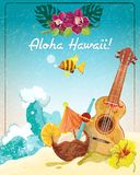 Hawaii guitar vacation poster. Hawaii guitar tropical beach vacation advertisement poster with coconut refreshment colada drink sketch color abstract vector Royalty Free Stock Photos