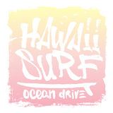 Hawaii hand lettering surf print, tee print. Vector illustration. Stock Photography
