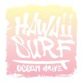 Hawaii-Handbeschriftungs-Brandungsdruck, T-Stück Druck Auch im corel abgehobenen Betrag Stockfotografie