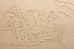 Hawaii handwritten from  sand Royalty Free Stock Images