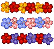 Hawaii Hibiscus Flowers 2. An illustration of hawaiian hibiscus flowers in gold orange, pink, blue, purple, and red in the shape of borders which could also be