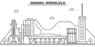 Hawaii, Honolulu architecture line skyline illustration. Linear vector cityscape with famous landmarks, city sights Royalty Free Stock Images