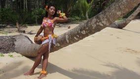 Hawaii Hula dancer on beach stock video footage