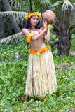 Hawaii hula dancer with coconut Royalty Free Stock Photo