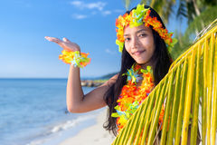 Hawaii hula dancers. Show her hand to the sky stock image