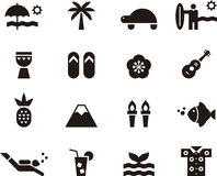 Hawaii icon set. Set of black and white glyph flat icons relating to Hawaii royalty free illustration