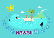 Hawaii Islands and Surfing Concept. Editable Clip Art. Royalty Free Stock Images