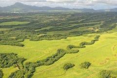 Hawaii kauai fields aerial view. Hawaii kauai fields on sunny day Stock Images