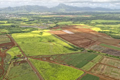 Hawaii kauai fields aerial view Stock Photo