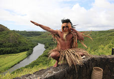 Hawaii Kauai Warrior. Kauai warrior stands watch over the Wailua River Stock Photo