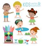 Hawaii Kids Vector Set, Hawaiian, Hawaii Set  cartoon. Hawaii children Stock Images