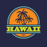 Hawaii 2017 label. Colorful Hawaii label with text and palm silhouettes stock illustration