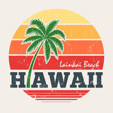 Hawaii Lanikai beach tee print with palm tree Stock Photography