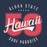 Hawaii lettering typography, t-shirt graphics design, shirt print on grunge texture. Royalty Free Stock Image