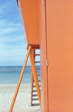 Hawaii lifeguard station. Detail of lifeguard station on Waikiki Beach in Honolulu, Hawaii stock image