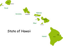 Hawaii Map Royalty Free Stock Photos