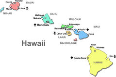 Hawaii map. Color Hawaii map with airports over white Royalty Free Stock Images