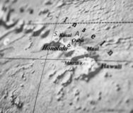 Hawaii map part of a world globe, black and white photo. Hawaii map part of a world globe. black and white photo royalty free stock photography