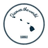 Hawaii map in vintage discover the world rubber. Hawaii map in vintage discover the world rubber stamp. Hipster style nautical postage stamp, with round rope Royalty Free Stock Images