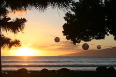 hawaii maui solnedgång Royaltyfri Foto