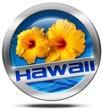 Hawaii - Metal Icon with Hibiscus Royalty Free Stock Image