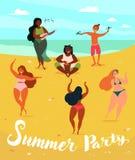 Hawaii musikaliskt sommarparti Hula och ukulele stock illustrationer