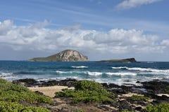 Rabbit Island and Kaohikaipu Island State Seabird Sanctuary. Hawaii, Oahu Royalty Free Stock Photos