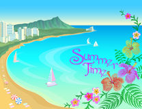 Hawaii ocean bay blue water sunny sky summer travel vacation background. Boats sand beach flowers umbrellas hot day. Scene landscape view vector illustration Stock Image
