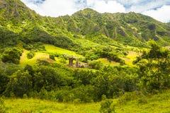 Hawaii ohau ka`a`awa valley with sun Stock Photography