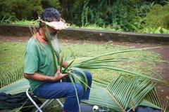 Hawaii - Palm leaf artist royalty free stock image