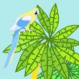 Hawaii palm and parrot Caribbean Gold vector illustration. Hawaii palm and parrot Caribbean Gold. vector illustration Royalty Free Stock Images