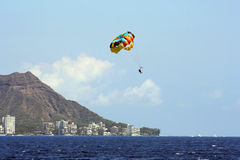 Hawaii Para-sail. Para-sail and Diamond Head, Honolulu, Hawaii, USA Stock Photo