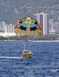 Hawaii Para-sail at Waikiki. Para-sail and Waikiki Beach, Honolulu, Hawaii, USA Stock Photos