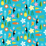 Hawaii pattern with tucans, parrots, leafs and surfs Stock Photos