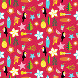 Hawaii pattern with tucans, parrots, leafs and surfs Royalty Free Stock Photography